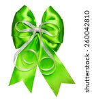 bright green bow with silver... | Shutterstock . vector #260042810