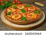 pizza with chicken and peppers  ... | Shutterstock . vector #260043464