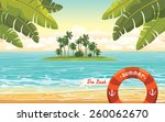green island with coconut palms ... | Shutterstock .eps vector #260062670