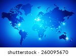 world map with nodes linked by... | Shutterstock .eps vector #260095670