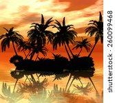 beautiful sunset on the beach   Shutterstock . vector #260099468