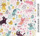 Stock vector sweet childish seamless pattern with birds cats and funny dogs in vector seamless pattern can be 260116418