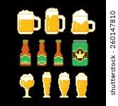 Beer Icons Set. Pixel Art. Old...