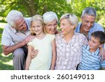 happy family smiling at the... | Shutterstock . vector #260149013