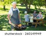 happy grandfather doing... | Shutterstock . vector #260149949