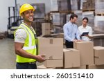 portrait of worker carrying box ... | Shutterstock . vector #260151410