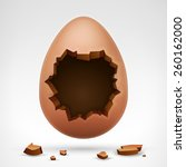 egg with cracked shell and... | Shutterstock .eps vector #260162000