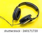 headphones on a yellow... | Shutterstock . vector #260171720