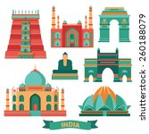 india famous monuments. vector... | Shutterstock .eps vector #260188079
