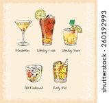 whiskey cocktails menu vector | Shutterstock .eps vector #260192993