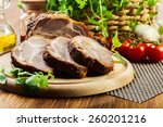 roasted pork neck with spices... | Shutterstock . vector #260201216