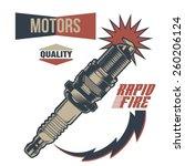 vintage motor spark plug fuel | Shutterstock .eps vector #260206124
