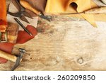 leather and craft tools on... | Shutterstock . vector #260209850