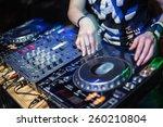 dj playing disco house... | Shutterstock . vector #260210804
