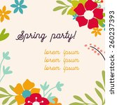 vector floral party invitation | Shutterstock .eps vector #260237393