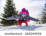 young girl in a cap with the... | Shutterstock . vector #260244056