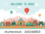 india colorful detailed skyline.... | Shutterstock .eps vector #260268803