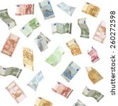 flying euro banknotes isolated... | Shutterstock . vector #260272598