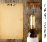 wine bottle and wine list on...