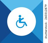 Wheel Chair  Icon On Blue...