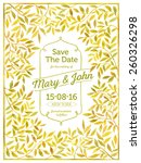 wedding card with watercolor... | Shutterstock .eps vector #260326298