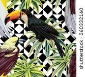 floral tropic jungle plants...   Shutterstock .eps vector #260332160
