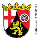 Coat of arms of Rhineland-Palatinate state, Germany. Original and simple flag isolated vector in official colors and Proportion Correctly, vector illustration isolated