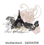 illustration of the eiffel tower | Shutterstock .eps vector #26034358