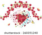 red glossy heart illustration... | Shutterstock .eps vector #260351240