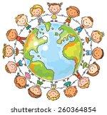 happy cartoon children round... | Shutterstock .eps vector #260364854