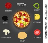 pizza and ingredients   make... | Shutterstock . vector #260368280