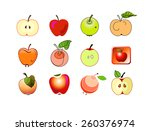 apple decorative set. fruits... | Shutterstock . vector #260376974