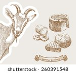 goat peeking from the corner... | Shutterstock .eps vector #260391548