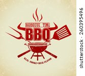 vintage bbq grill party | Shutterstock .eps vector #260395496