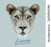 Vector Portrait Of A Lioness O...
