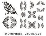 tribal sparrow and sparrows... | Shutterstock .eps vector #260407196