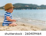 little baby boy sitting on the... | Shutterstock . vector #260409464