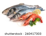 Assorted Fresh Seafood Isolated ...