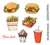 st food with cola  hamburger  ... | Shutterstock .eps vector #260424944