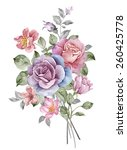 watercolor illustration bouquet ... | Shutterstock . vector #260425778