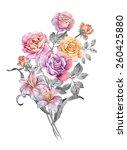 watercolor illustration bouquet ... | Shutterstock . vector #260425880