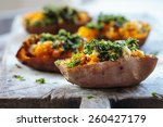 roast sweet potato with feta... | Shutterstock . vector #260427179