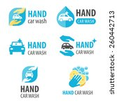 vector set of hand car wash... | Shutterstock .eps vector #260442713