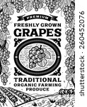 retro grapes poster black and...   Shutterstock .eps vector #260452076