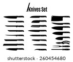vector knives set isolated on... | Shutterstock .eps vector #260454680