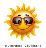 summer sun face with sunglasses ... | Shutterstock .eps vector #260456648