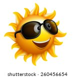 summer sun face with sunglasses ...