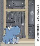 Sad Hippopotamus At A Window...