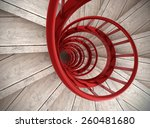 Spiral Wood Stairs With Red...