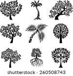 collection of decorative trees | Shutterstock .eps vector #260508743